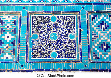 Samarkand - Details of the ornament at the Shah-i-Zinda,...