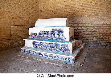 Samarkand - Grave at the Shah-i-Zinda, Samarkand,...
