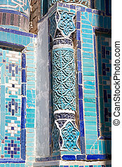 Samarkand - Details of the column of the mausoleum at the...