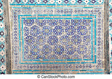 Samarkand - Islamic pattern and ornament on the mausoleum at...