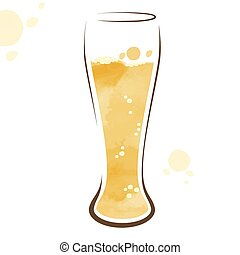 Glass of beer watercolor drawing - Illustration glass of...