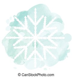 Watercolor illustration with white snowflake - Watercolor...
