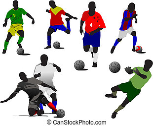 Soccer player  silhouettes in action. Vector illustration