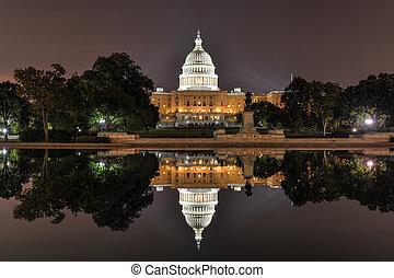 私達, ワシントン, 国会議事堂, DC, 夜