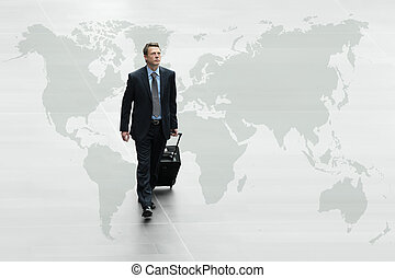 business man walking on the world map, international travel...