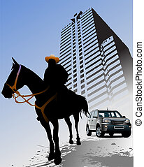 Urban background with horse silhouette. Vector