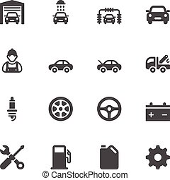 Car service icons on white background