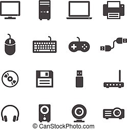 Computer icons on white background