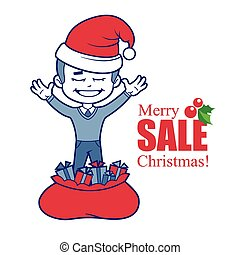 Promotional banner with Santa Claus and Christmas tree. -...