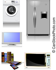 Home equipment. Kitchen. Living room. Library. Vector