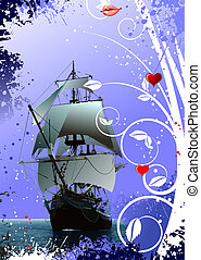 Decorative Valentine`s Day greeting card with ship image