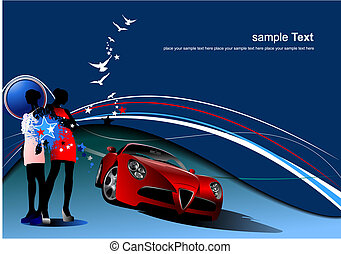 Blue abstract background with girls and car image. Vector illustration