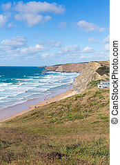 Surfing beach Watergate Bay Cornwal - Watergate Bay Cornwall...