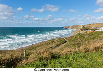 Coastal path Watergate Bay Cornwall - Watergate Bay Cornwall...
