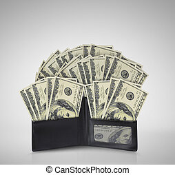 dollars in bills spilling out of billfold - dollars in bills...