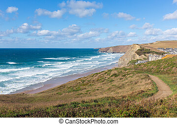 Coast path Watergate Bay Cornwall - Watergate Bay Cornwall...