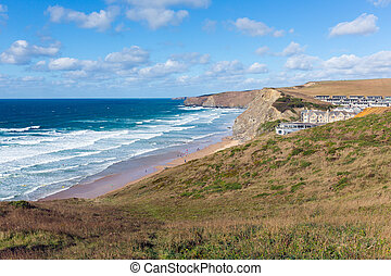 Watergate Bay Cornwall England UK Cornish north coast...
