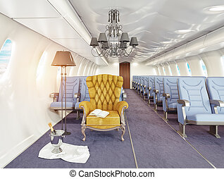 armchair in cabin - luxury armchair in airplane cabin. 3d...