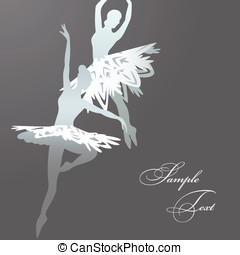 Snowflake ballet dancers - Vector illustration of two ballet...