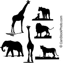African animal silhouettes Black and white silhouettes