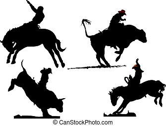 Quatro, rodeo, silhuetas, vetorial, Ilustração