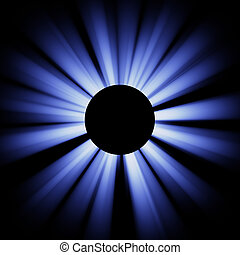 Blue eclispe - Bright blue rays diverge from the black...