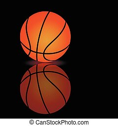 Vector basketball on a smooth surface - Vector illustration...