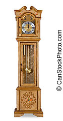 Old grandfather clock isolated on white background