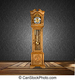 Old grandfather clock isolated in a empty room.