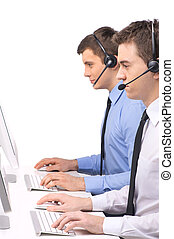 Customer service employee with headphones on white two men...