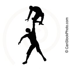 silhouette of two senior climbers men team holding on with a...