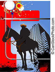 Grunge urban background with horse image. Vector illustration