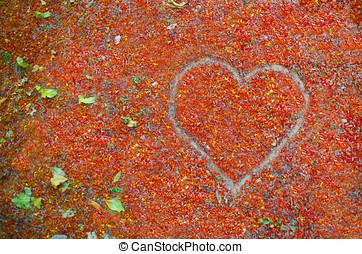 Forma de corazon en otono - Forma de corazon dibujado en...