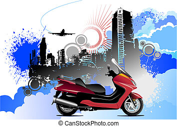 Grunge colored silhouette cityscape with motorcycle image. Vector illustration
