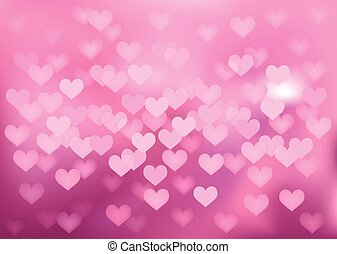 Pink festive lights in heart shape, vector background. -...