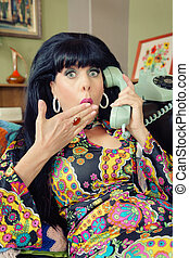Startled Woman on Phone
