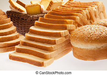 Closeup of assorted bakery breads