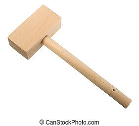 Wood mallet. Close-up. Isolated on white background.