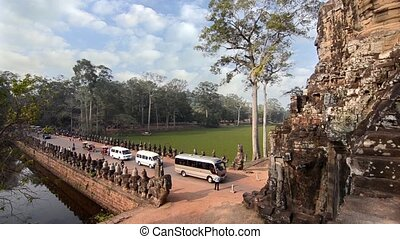 historic temple in cambodia - cambodia, angkor wat, west...