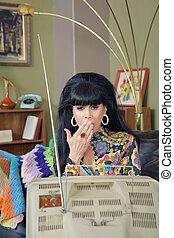 Shocked Woman Watching TV