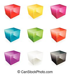 Vector glass cubes - Vector Illustration of modern glass...