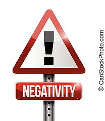 negativity warning sign illustration design over a white...