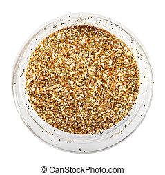golden glitter sparkle on white background.