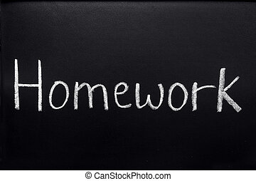 Homework, written on a blackboard.