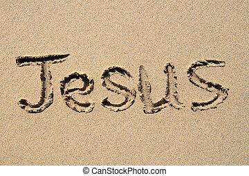 escrito, playa,  Jesús, arenoso