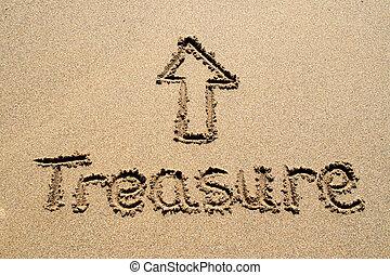 el, palabra, tesoro, escrito, arena, Señalar, flecha
