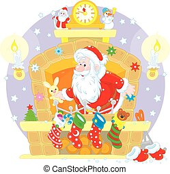 Santa in the fireplace - The night before Christmas, Santa...