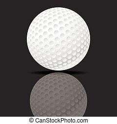 Golf ball - Vector illustration of a golf ball on black...