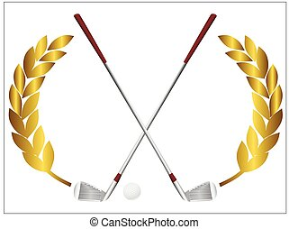 Golf clubs - Vector illustration of a golf ball and crossing...