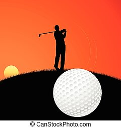 Golf player - Vector illustration of a golf player on sunset
